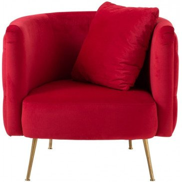 Fauteuil Boutons 1 Coussin Cherry 1 Personne Velours Bouleau Rouge | www.cosy-home-design.fr