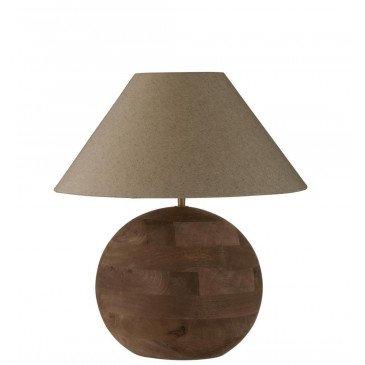 Lampe et Abat-Jour Boule Mia Bois De Manguier Marron Petit | www.cosy-home-design.fr