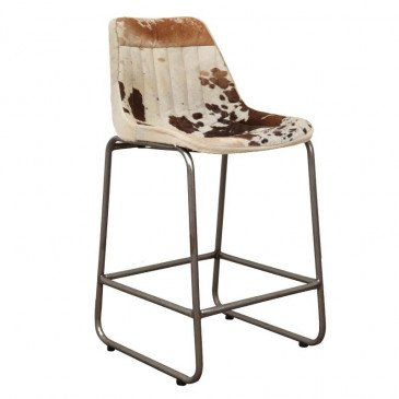 Chaise de Bar Style Industriel Peau de Vache Coloris Marron et Blanc Pita | www.cosy-home-design.fr