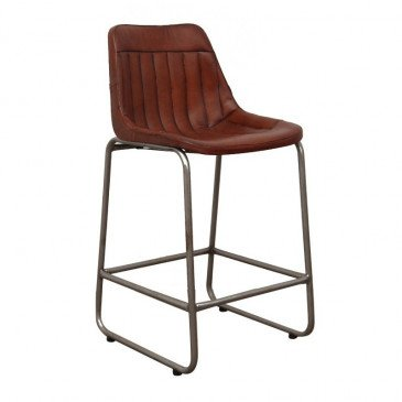 Chaise de Bar Style Industriel Cuir Coloris Marron Pita | www.cosy-home-design.fr