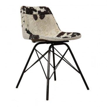 Chaise Style Industriel Peau de Vache Coloris Noir et Blanc Cockpit | www.cosy-home-design.fr