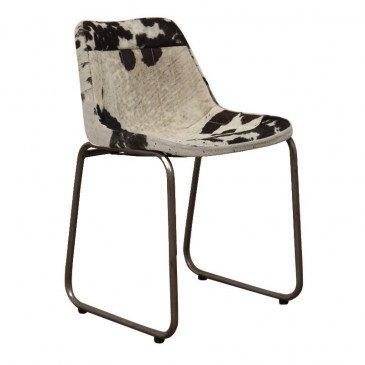 Chaise Style Industriel Peau de Vache Coloris Noir et Blanc Pita | www.cosy-home-design.fr