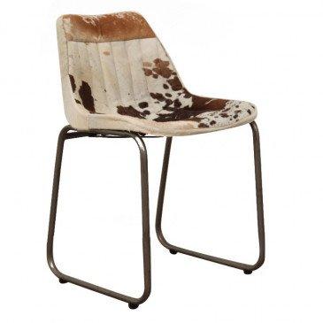 Chaise Style Industriel Peau de Vache Coloris Marron et Blanc Pita | www.cosy-home-design.fr