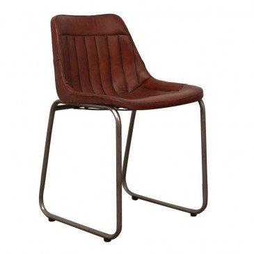 Chaise Style Industriel Cuir Coloris Marron Pita | www.cosy-home-design.fr