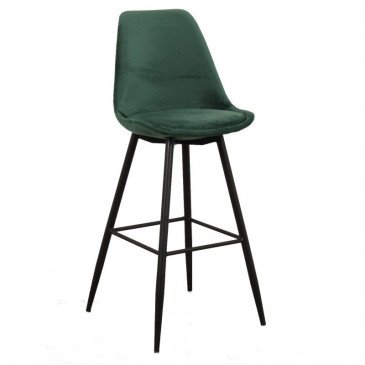 Chaise de Bar Style Contemporain Coloris Vert Emeraude Brindille | www.cosy-home-design.fr