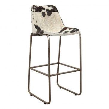 Chaise de Bar Style Industriel Peau de Vache Coloris Noir et Blanc Pita | www.cosy-home-design.fr