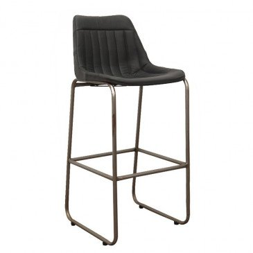 Chaise de Bar Style Industriel Cuir Coloris Noir Pita | www.cosy-home-design.fr