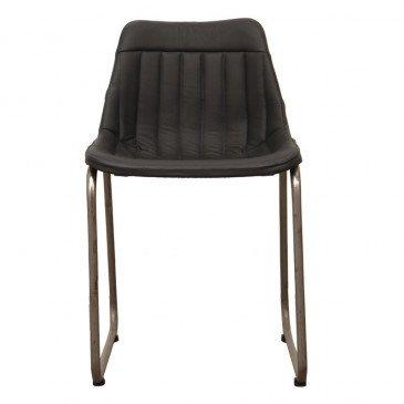 Chaise Style Industriel Cuir Coloris Noir Pita   www.cosy-home-design.fr
