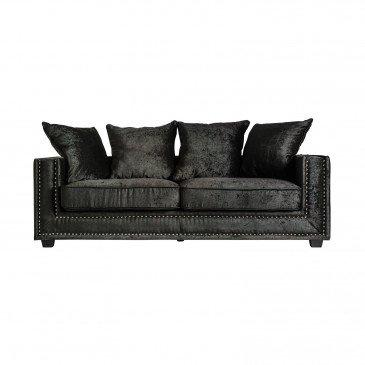 Canapé Noir Style Rétro en Pin et Polyester Luxon | www.cosy-home-design.fr