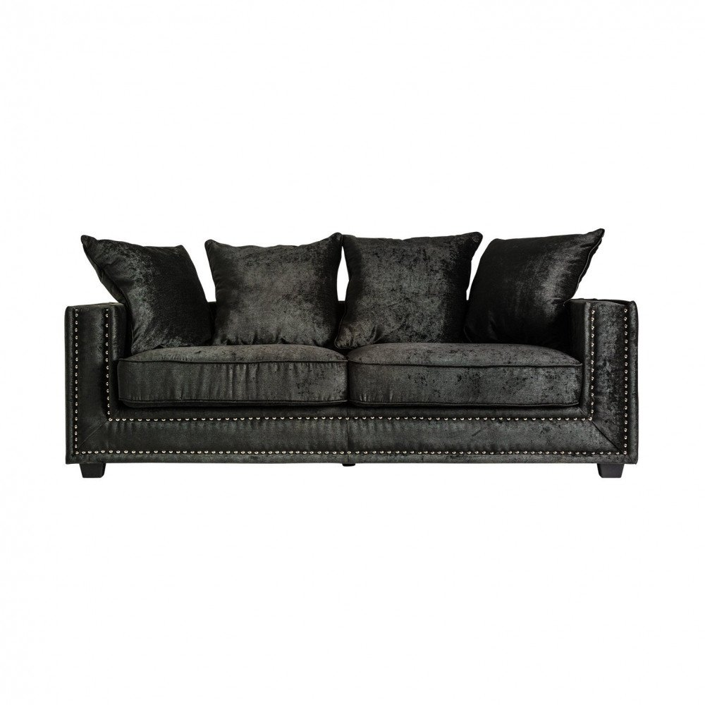 Canapé Noir Style Rétro en Pin et Polyester Luxon   www.cosy-home-design.fr