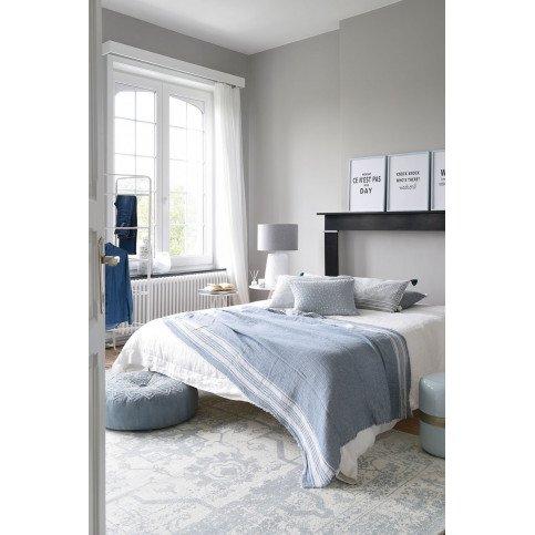 Pied De Lampe et Abat-Jour Fin Tressé Béton/Coton Blanc Large | www.cosy-home-design.fr