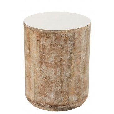 Tabouret Bois De Manguier Blanc | www.cosy-home-design.fr