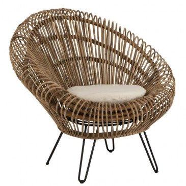 Siège Lounge Vivi Avec Coussin Rotin/Fer Naturel | www.cosy-home-design.fr