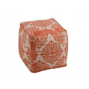 Pouf Baroque Polyester Orange/Beige | www.cosy-home-design.fr