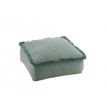 Pouf Carré Franges Coton Bleu Clair | www.cosy-home-design.fr