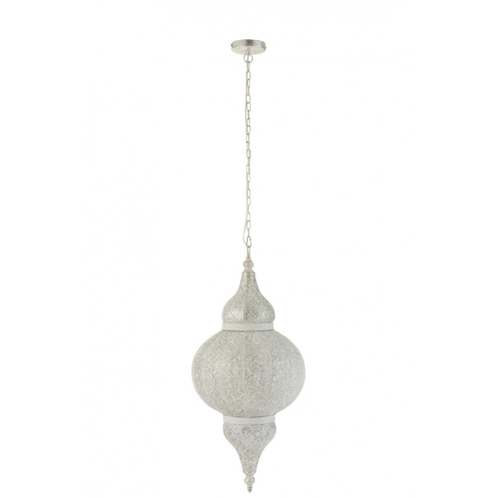Lampe Suspendue Orientale Bord Métal Blanc | www.cosy-home-design.fr