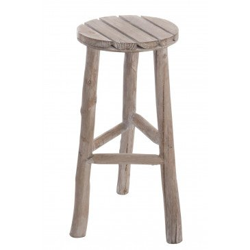 Tabouret Rond Bois Blanc Wash Medium | www.cosy-home-design.fr