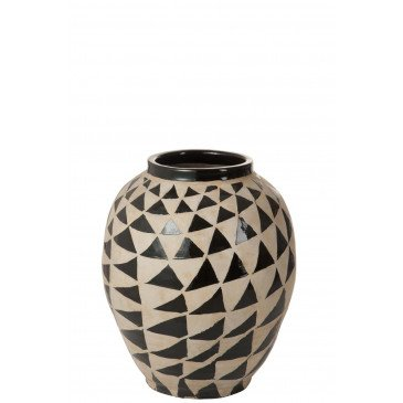 Vase Ethnique Triangle Terracotta Beige/Noir | www.cosy-home-design.fr