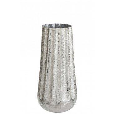 Vase Nervures Aluminium Argent Large | www.cosy-home-design.fr