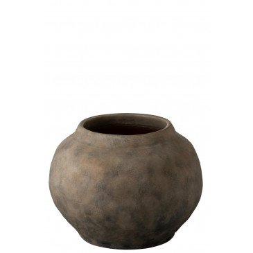 Vase Ethnique Rond Terre Cuite Marron Small | www.cosy-home-design.fr