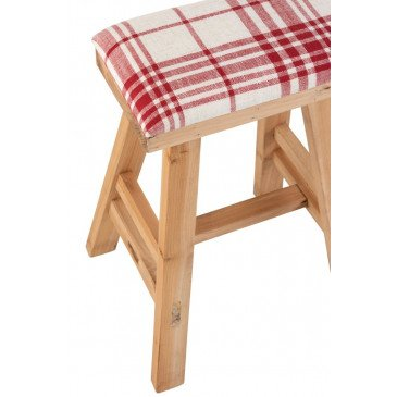 Tabouret Rectangulaire Bois/Textile Marron/Rouge | www.cosy-home-design.fr