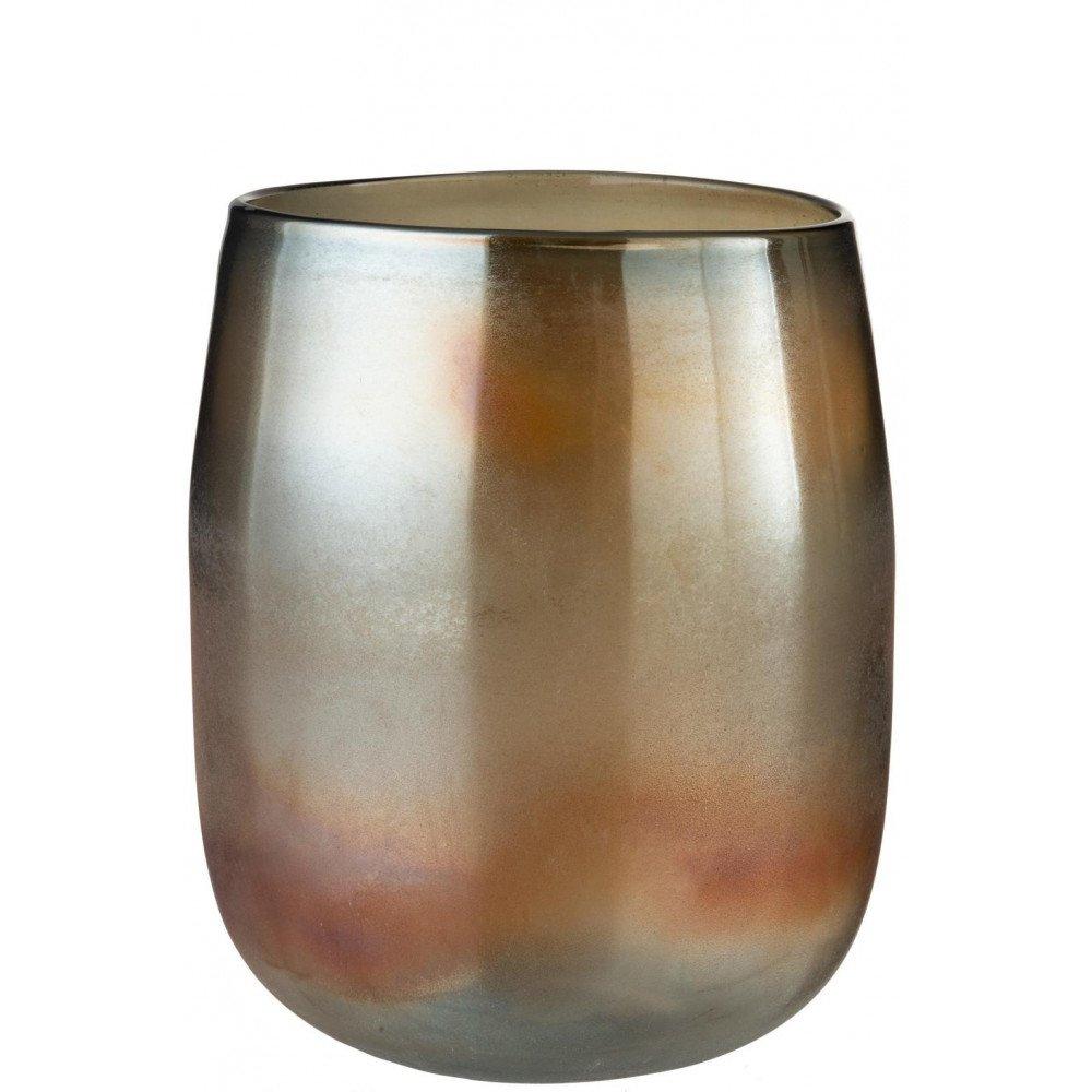 Vase Rond Haut Verre Bordeaux/Ocre | www.cosy-home-design.fr