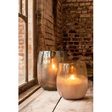 Vase Rond Haut Verre Bordeaux/Ocre   www.cosy-home-design.fr