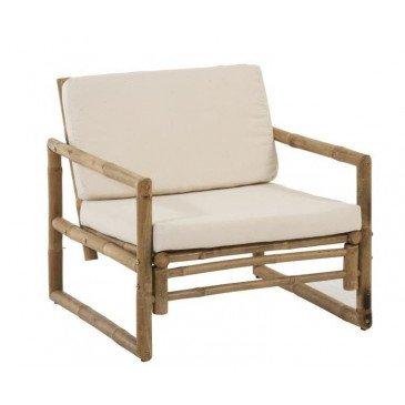 Fauteuil 1 Personne Bambou et Textile Naturel/Blanc | www.cosy-home-design.fr