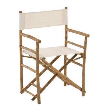 Chaise De Régisseur Pliable Bambou et Textile Naturel/Blanc | www.cosy-home-design.fr