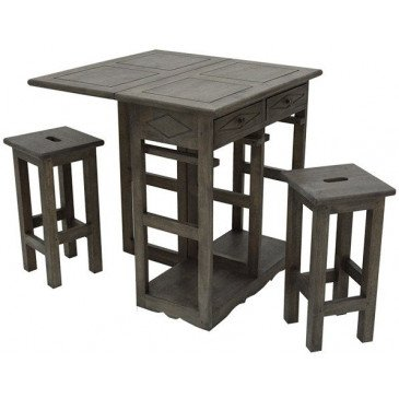 Table Pliante et 2 Tabourets Style Campagne 2 Tiroirs Bois Massif Field | www.cosy-home-design.fr