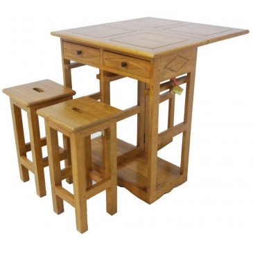 Table Pliante et 2 Tabourets Style Campagne 2 Tiroirs Bois Massif Field   www.cosy-home-design.fr