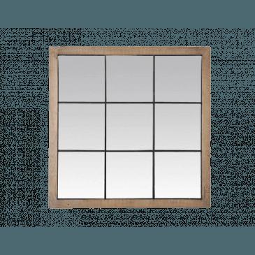 MIROIR 9 VUES BOIS CLAIR ET MÉTAL NOIR 100X100CM | www.cosy-home-design.fr