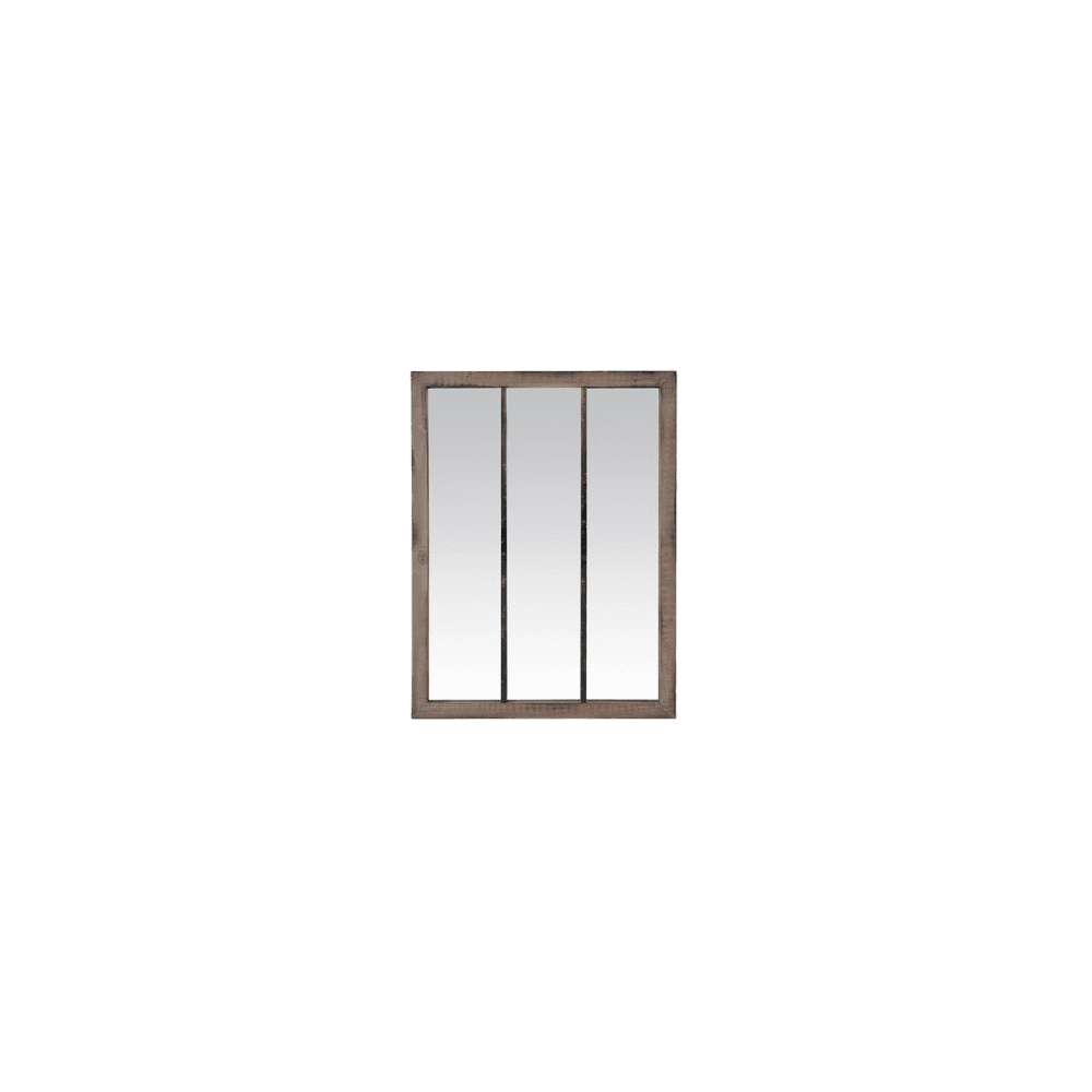 MIROIR 3 BANDES BOIS FONCÉ ET MÉTAL USÉ 85X113CM | www.cosy-home-design.fr