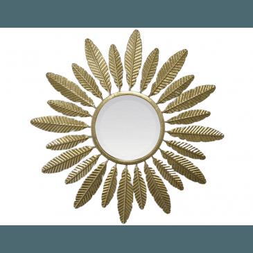 MIROIR SOLEIL PLUMES DORE 62X3CM | www.cosy-home-design.fr