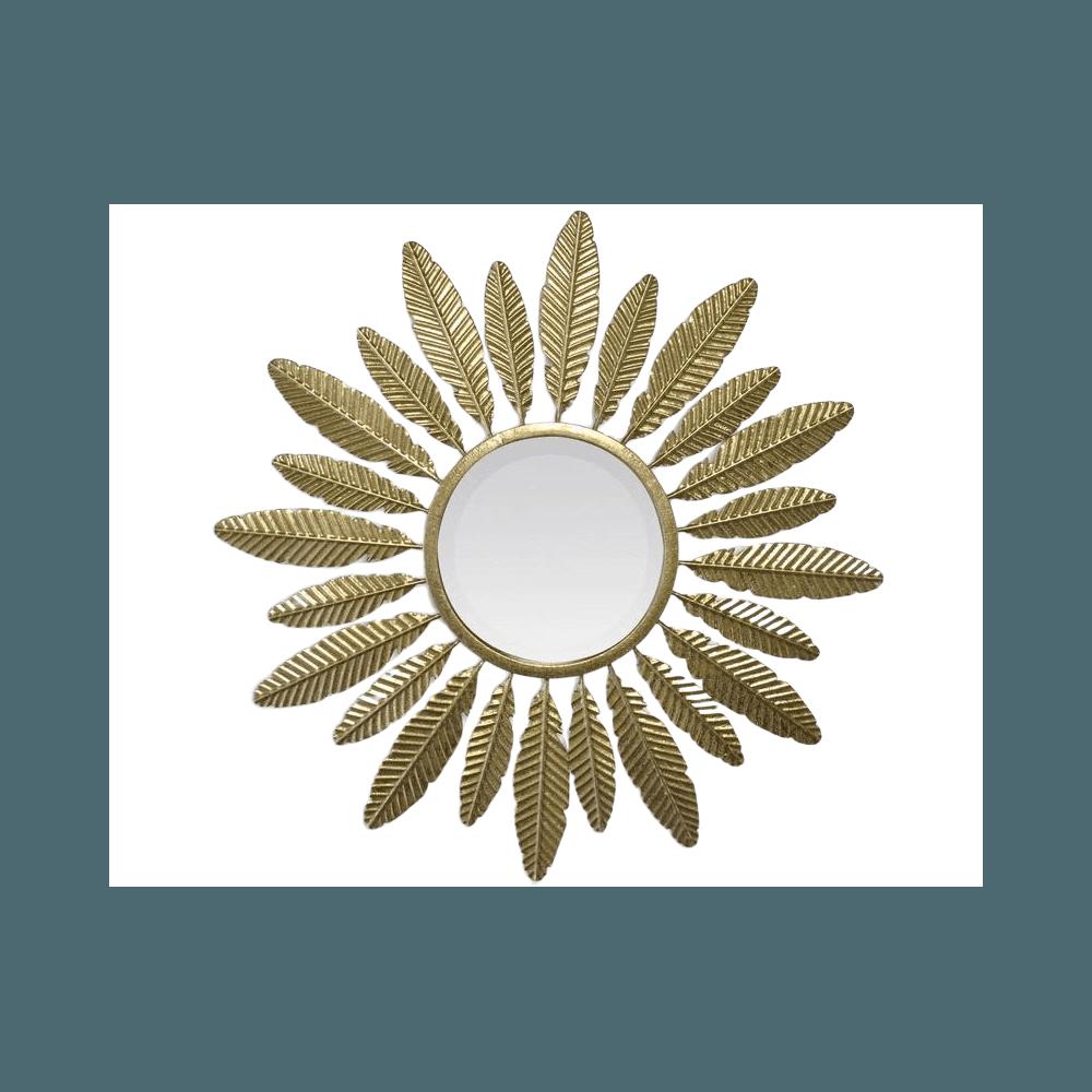 MIROIR SOLEIL PLUMES DORE 62X3CM   www.cosy-home-design.fr