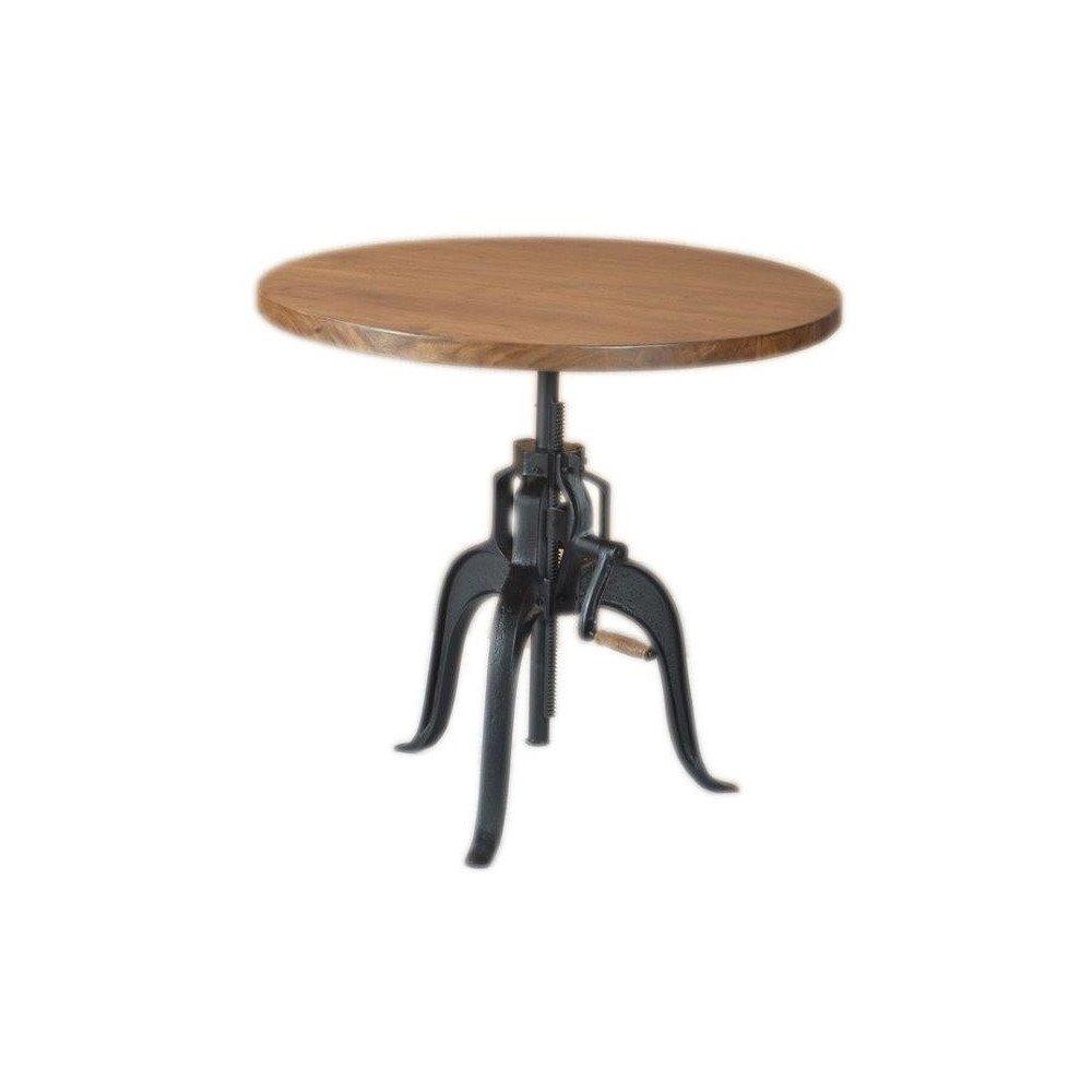 Table Ronde Ajustable Grenelle de Style Bistro/Bar en Fer et Bois 90cm | www.cosy-home-design.fr