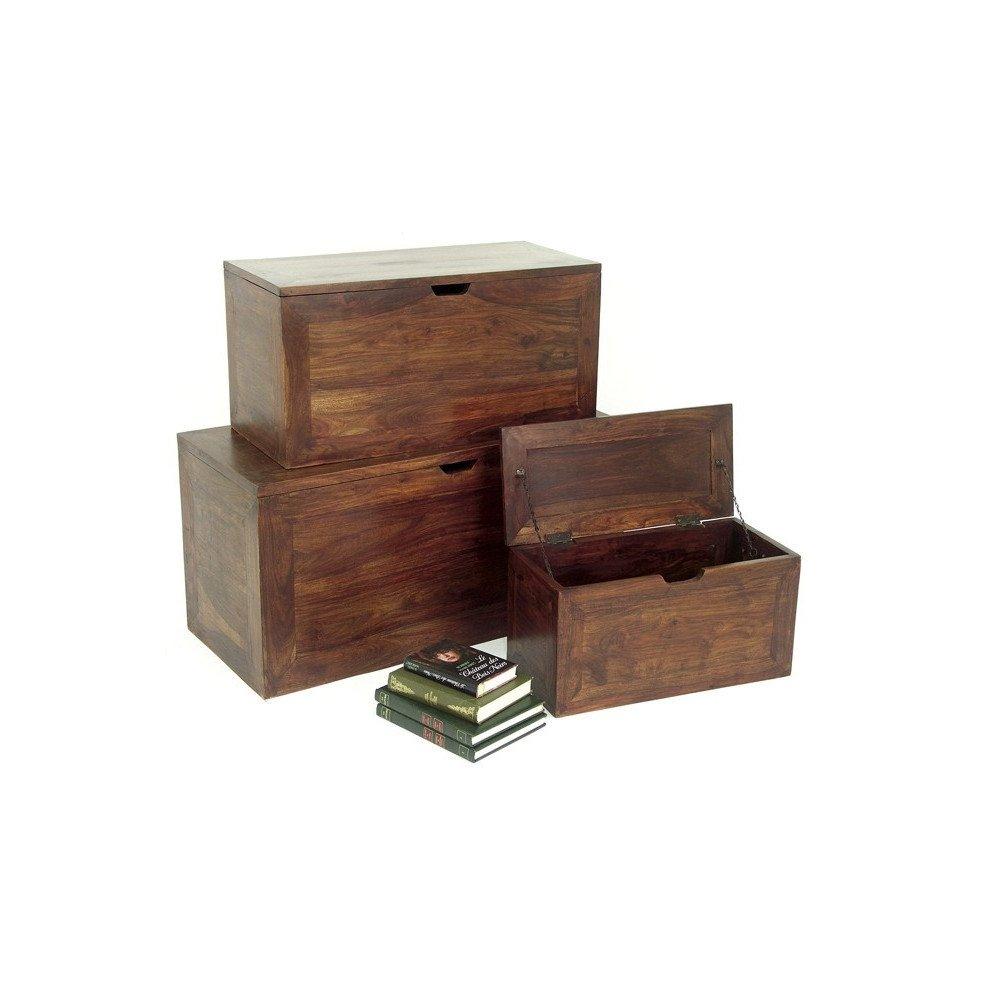 Set de 3 Coffres Gigognes Padang de Style Ethnique en Palissandre | www.cosy-home-design.fr