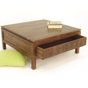 Table Basse 2 Tiroirs Susono de Style Asiatique en Palissandre | www.cosy-home-design.fr