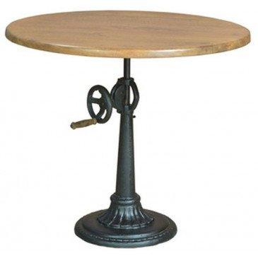 Table Ronde Ajustable Grenelle de Style Bistro/Bar en Fer et Bois 100cm | www.cosy-home-design.fr