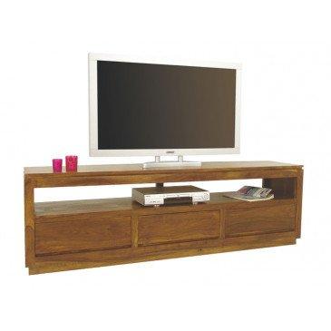 Meuble TV 3 Tiroirs Susono de Style Asiatique en Palissandre | www.cosy-home-design.fr
