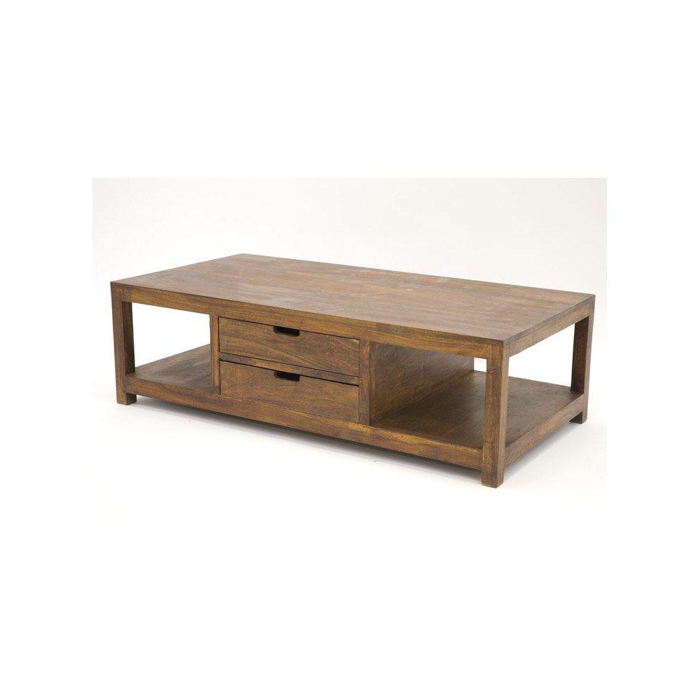 Table Basse 2 Tiroirs Raha de Style Ethnique en Palissandre | www.cosy-home-design.fr