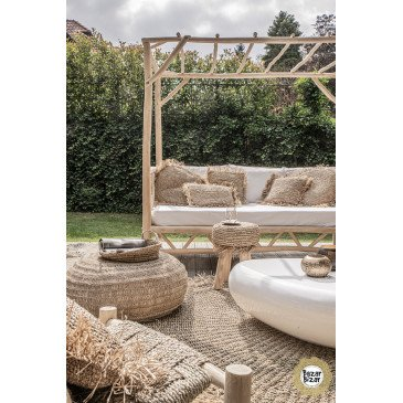 Set de 3 Plateaux Bohème Chic Naturel en Raphia Small   www.cosy-home-design.fr