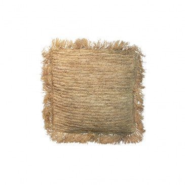 Coussin Bohème Chic Naturel en Raphia Medium | www.cosy-home-design.fr