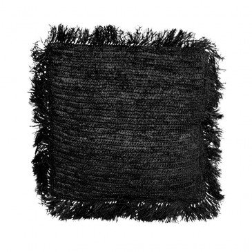 Coussin Bohème Chic Noir en Raphia Large | www.cosy-home-design.fr