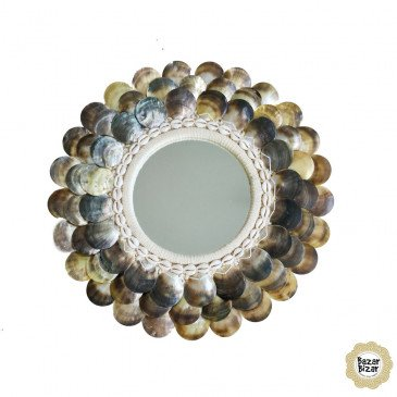 Miroir Bohème Chic Naturel, Marron en Coton, Coquillages Medium | www.cosy-home-design.fr