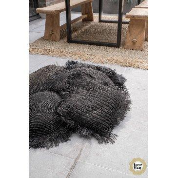Coussin Bohème Chic Noir en Raphia Medium | www.cosy-home-design.fr