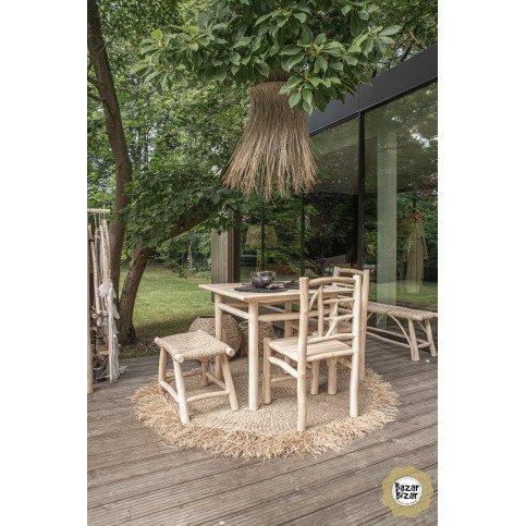 Banc Bohème Chic Naturel en Bois de Teck, Herbier Marin  | www.cosy-home-design.fr