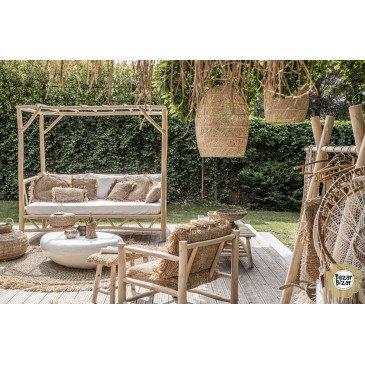 Lit d'Extérieur Bohème Chic Naturel en Bois de Teck Large   www.cosy-home-design.fr