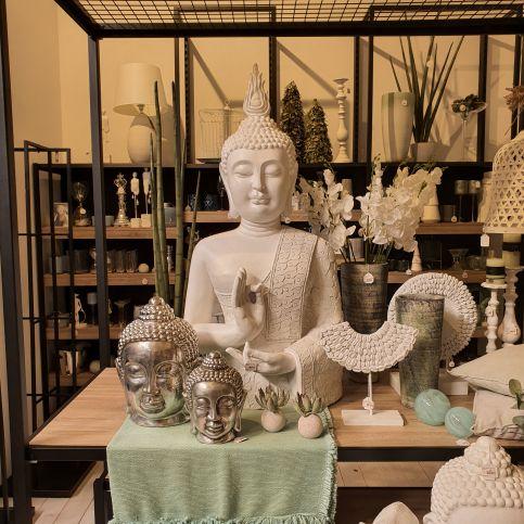 Bouddha Zen Résine Blanc