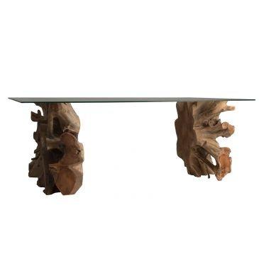 Table salon racine de teck et verre Dalkier